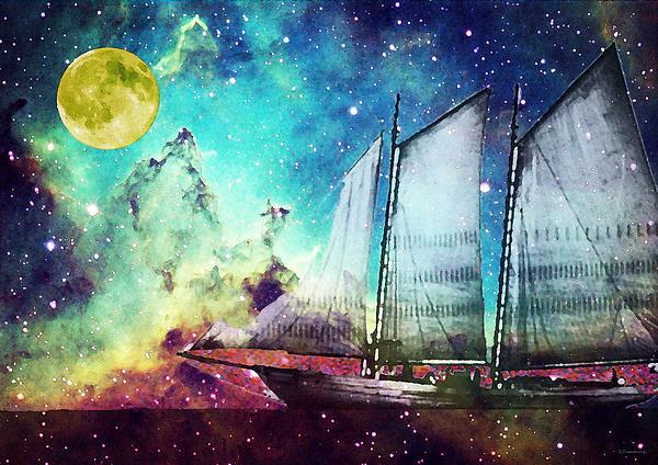 Galileo's Dream - Schooner Art By Sharon Cummings Print by Sharon Cummings