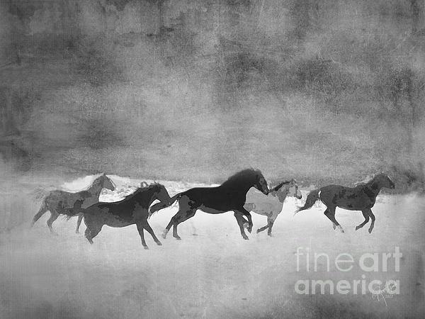 Galloping Herd Black And White Print by Renee Forth-Fukumoto