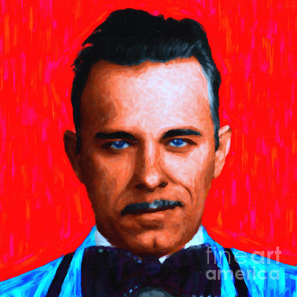 Gangman Style - John Dillinger 13225 - Red - Painterly Print by Wingsdomain Art and Photography