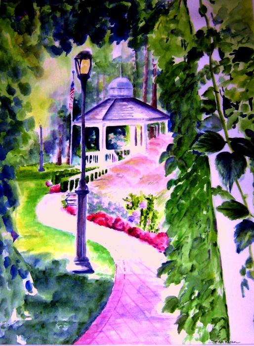 Garden City Gazebo Print by Sandy Ryan