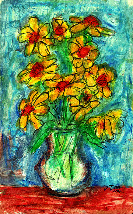 Garden Flower Mono-print Print by Don Thibodeaux