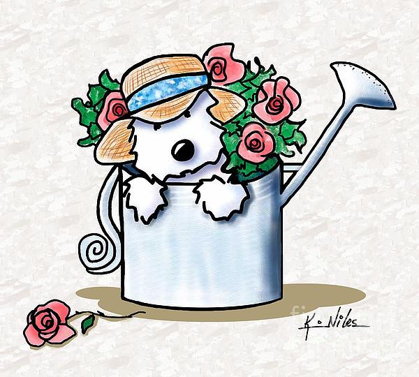 Garden Helper Westie Print by Kim Niles