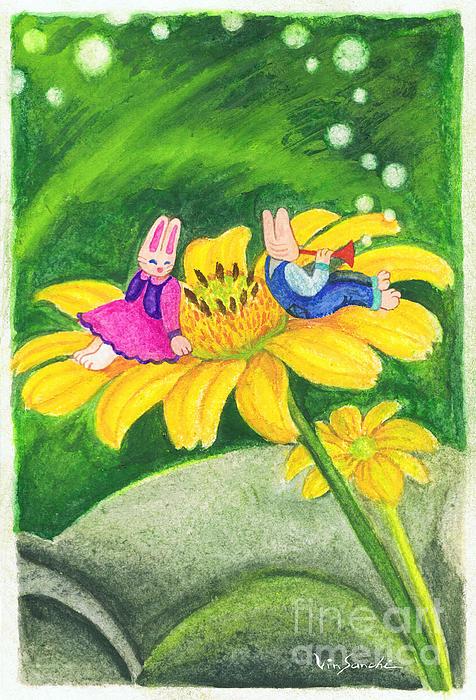 Garden Rabbit17 Heliopsis Print by Vin Kitayama