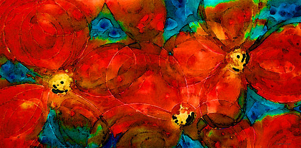 Garden Spirits - Vibrant Red Flowers By Sharon Cummings Print by Sharon Cummings
