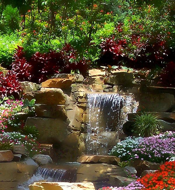 Landscape Waterfalls: Garden Waterfalls Print By Pharris Art
