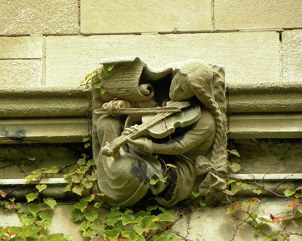 Gargoyle Musician University Of Chicago 2009 Print by Joseph Duba