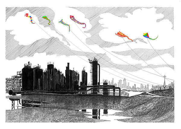 Gas Works Park Seattle Kite Flying  Print by Jack Pumphrey