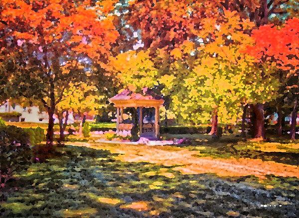 Gazebo On A Autumn Day Print by Thomas Woolworth
