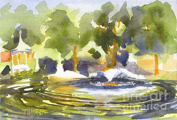 Gazebo With Pond And Fountain Print by Kip DeVore