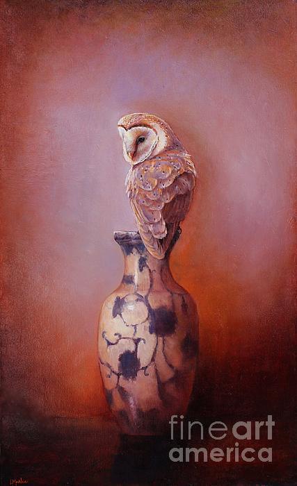 Gazing - Barn Owl Print by Lori  McNee