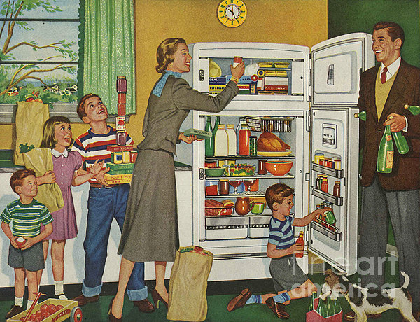 General Electric 1952 1950s Usa Fridges Print by The Advertising Archives