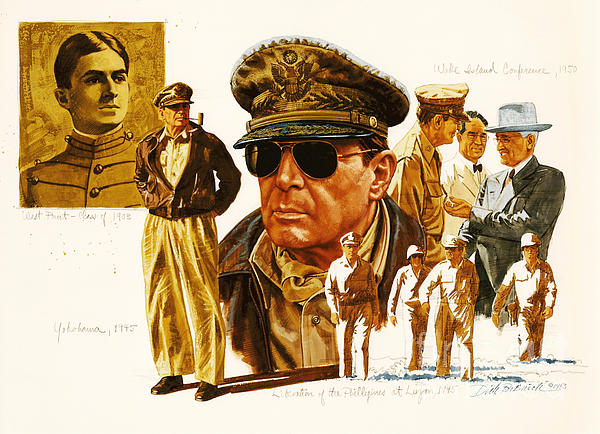 General Macarthur Print by Dick Bobnick