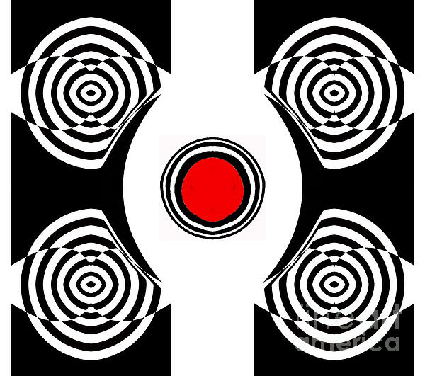Drinka Mercep - Geometric Abstract Black White Red Art No.400