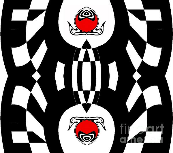 Drinka Mercep - Geometric Black White Red Abstract Art Print No.134.