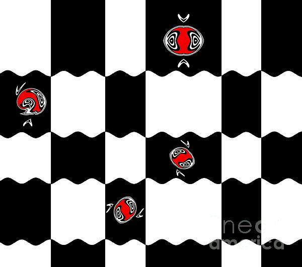 Geometric Minimalistic Art Black White Red Abstract Print No.228. Print by Drinka Mercep