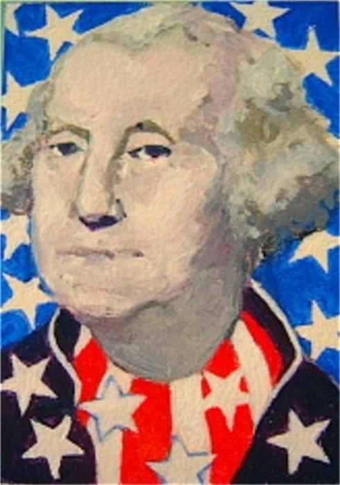 George Washington In Stars And Stripes Print by Diane Ursin