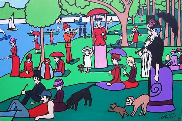Georges Seruat A Cyclops Afternoon On The Island Of La Grande Jatte Print by Thomas Valentine