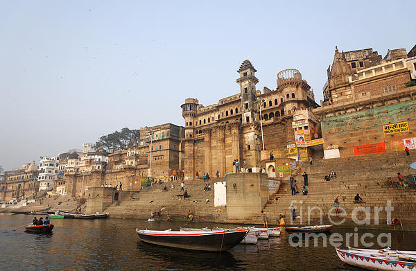 Ghats And Boats On The River Ganges At Varanasi In India Print by Robert Preston
