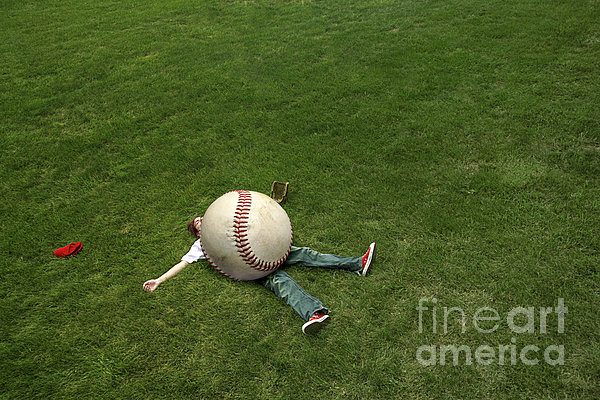 Giant Baseball Print by Diane Diederich