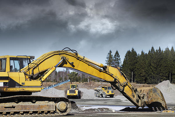 Giant Bulldozers In Action Print by Christian Lagereek