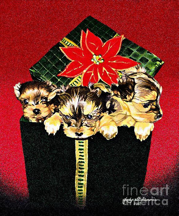 Gift Puppies Print by Judy Skaltsounis