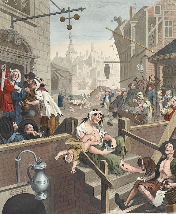 Gin Lane, Illustration From Hogarth Print by William Hogarth