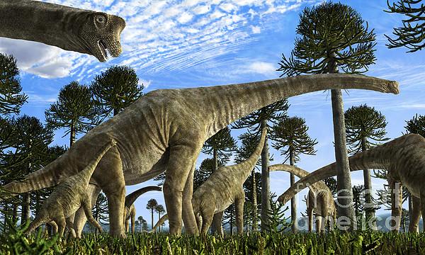 Giraffatitan Brancai Dinosaurs Grazing Print by Rodolfo Nogueira