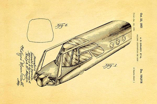 Girardy Railway Observation Car Patent Art 1951 Print by Ian Monk