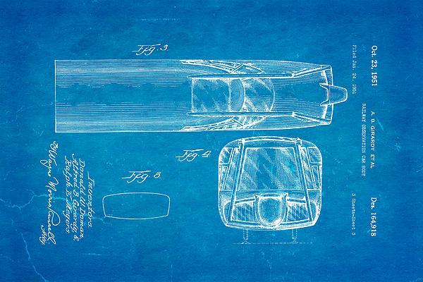 Girardy Railway Observation Car Patent Art  3 1951 Blueprint Print by Ian Monk