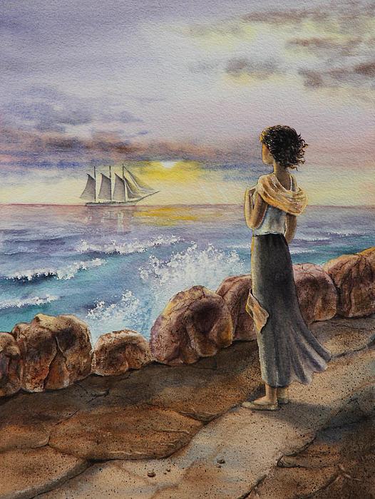 Girl And The Ocean Sailing Ship Print by Irina Sztukowski