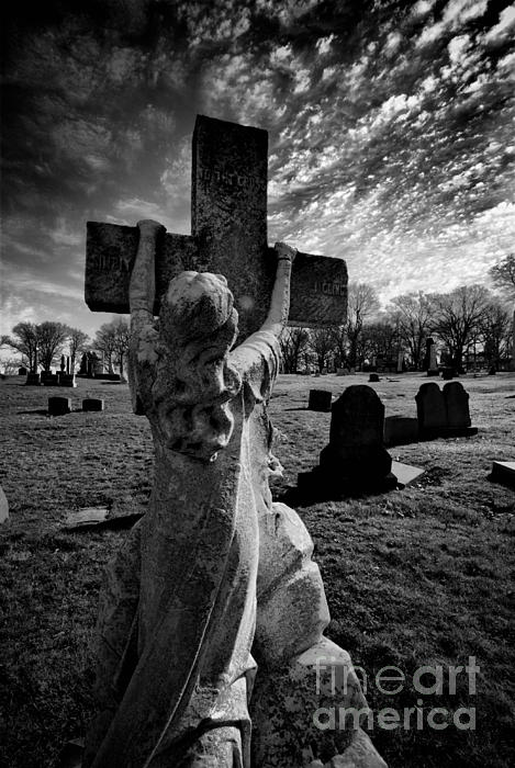 Girl Clings To Cross Allegheny Cemetery  Print by Amy Cicconi