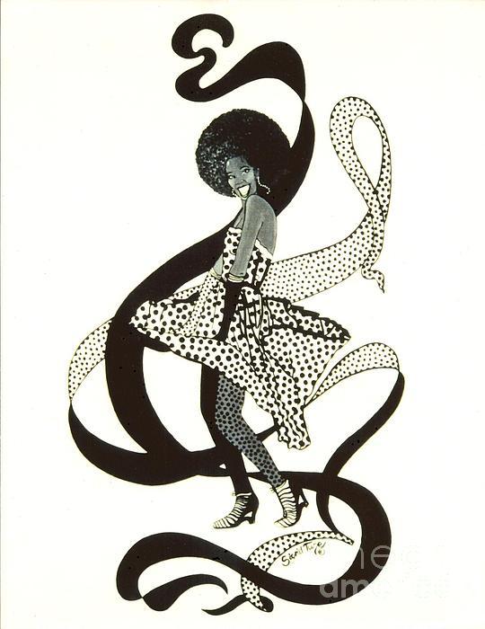 Girl In Polkadot Dress Print by Sigrid Tune