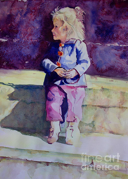 Girl In The Blue Jacket Print by Janet Felts