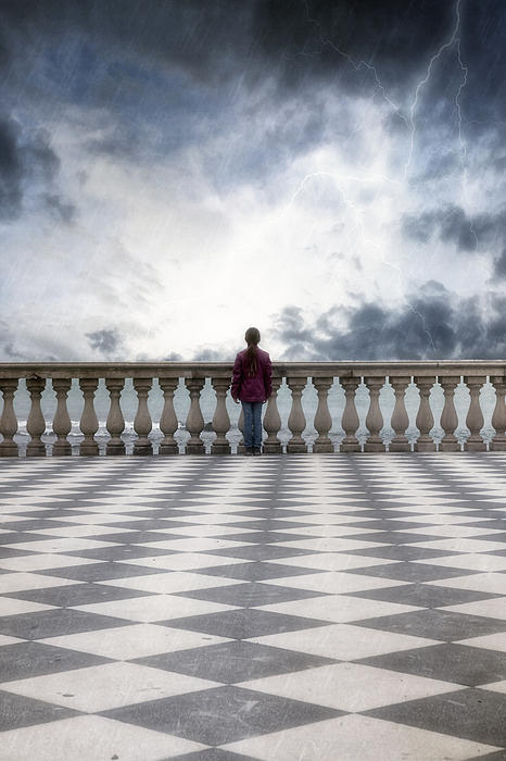 Girl On A Terrace Print by Joana Kruse