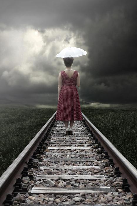 Girl On Tracks Print by Joana Kruse
