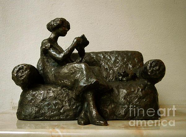 Girl Reading A Letter Print by Nikola Litchkov