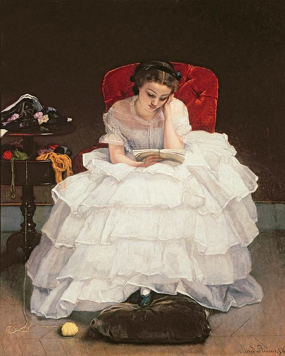 Girl Reading Print by Alfred Emile Stevens