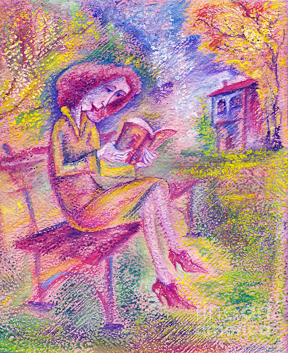 Girl With Book Print by Milen Litchkov