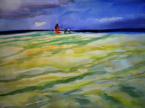 Girl With Dog On The Beach Print by Julianne Felton