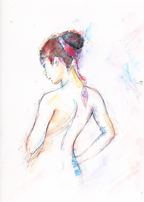 Girl With Red Scarf Print by Jovica Kostic