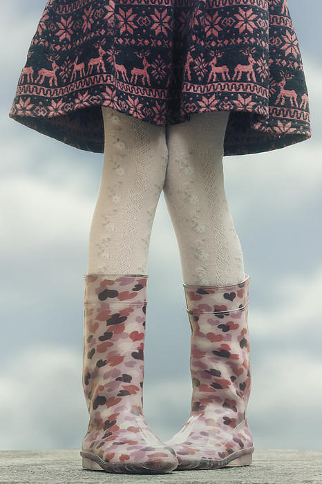 Girl With Wellies Print by Joana Kruse