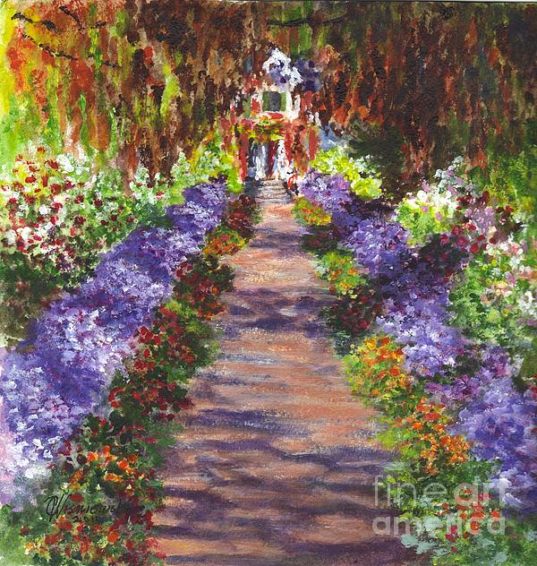 Giverny Gardens Pathway After Monet Print by Carol Wisniewski