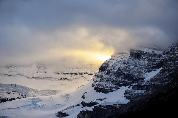 Glacier Above Lake Louise Alberta Canada Print by Mary Lee Dereske