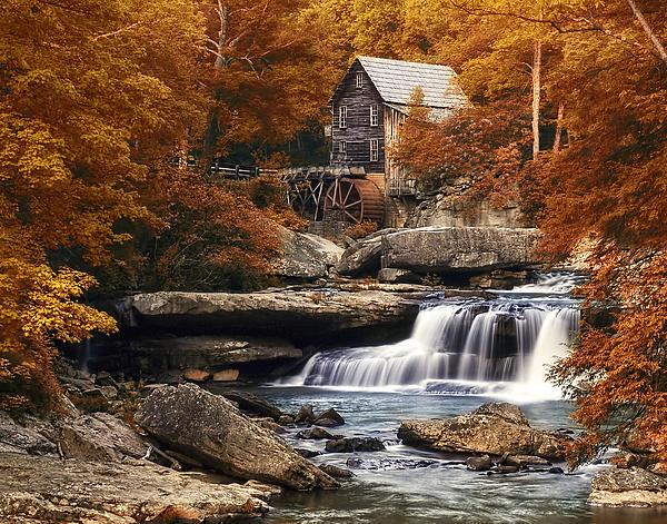 Glade Creek Mill In Autumn Print by Tom Mc Nemar