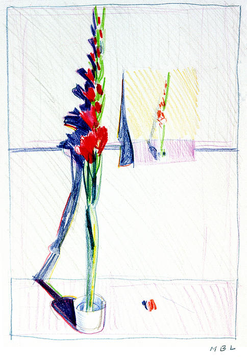 Gladiolas Pic. In Pic. Print by Mark Lunde