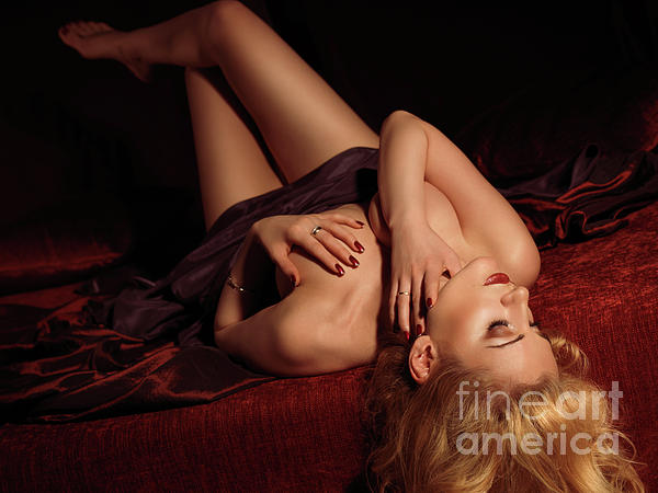 Glamour Photo Of A Woman Lying On A Bed Print by Oleksiy Maksymenko