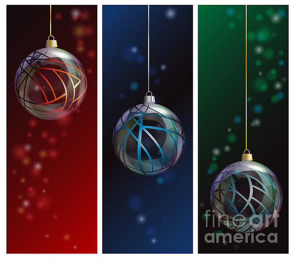 Glass Bauble Banners Print by Jane Rix