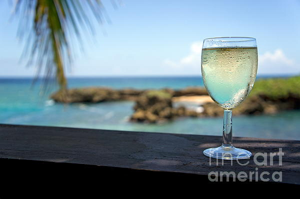 Glass Of Fresh Wine By Tropical Beach Print by Sami Sarkis