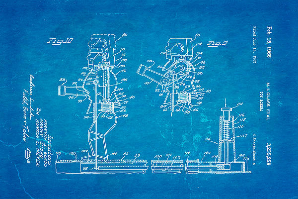 Glass Rock Em Sock Em Robots Toy Patent Art 3 1966 Blueprint Print by Ian Monk
