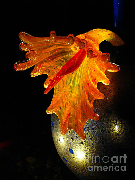 Glass Sculpture Orange Flowerbud Print by Amy Cicconi